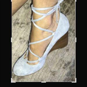 Adrienne Vittadini Baby Blue Wedge Shoe Size 8.5